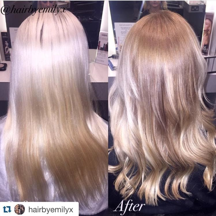 Colour change, bleach blonde to soft ombre. Styled using Cloud 9's. By Emily