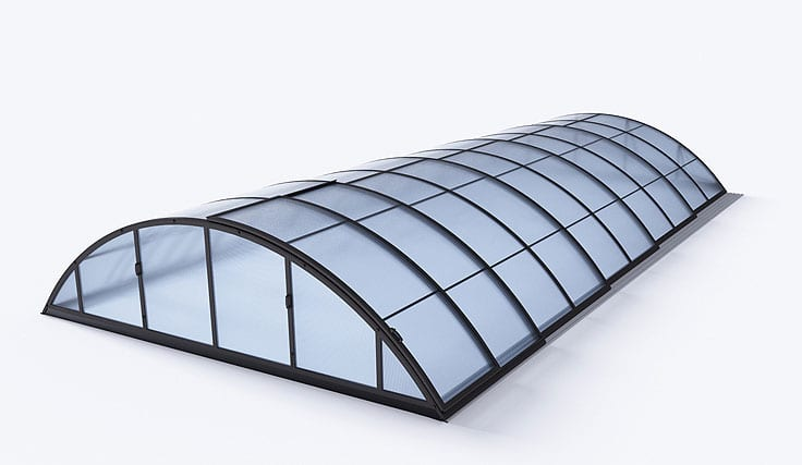 Klasik C Telescopic Pool Enclosure Silver Or Dark Grey Colour