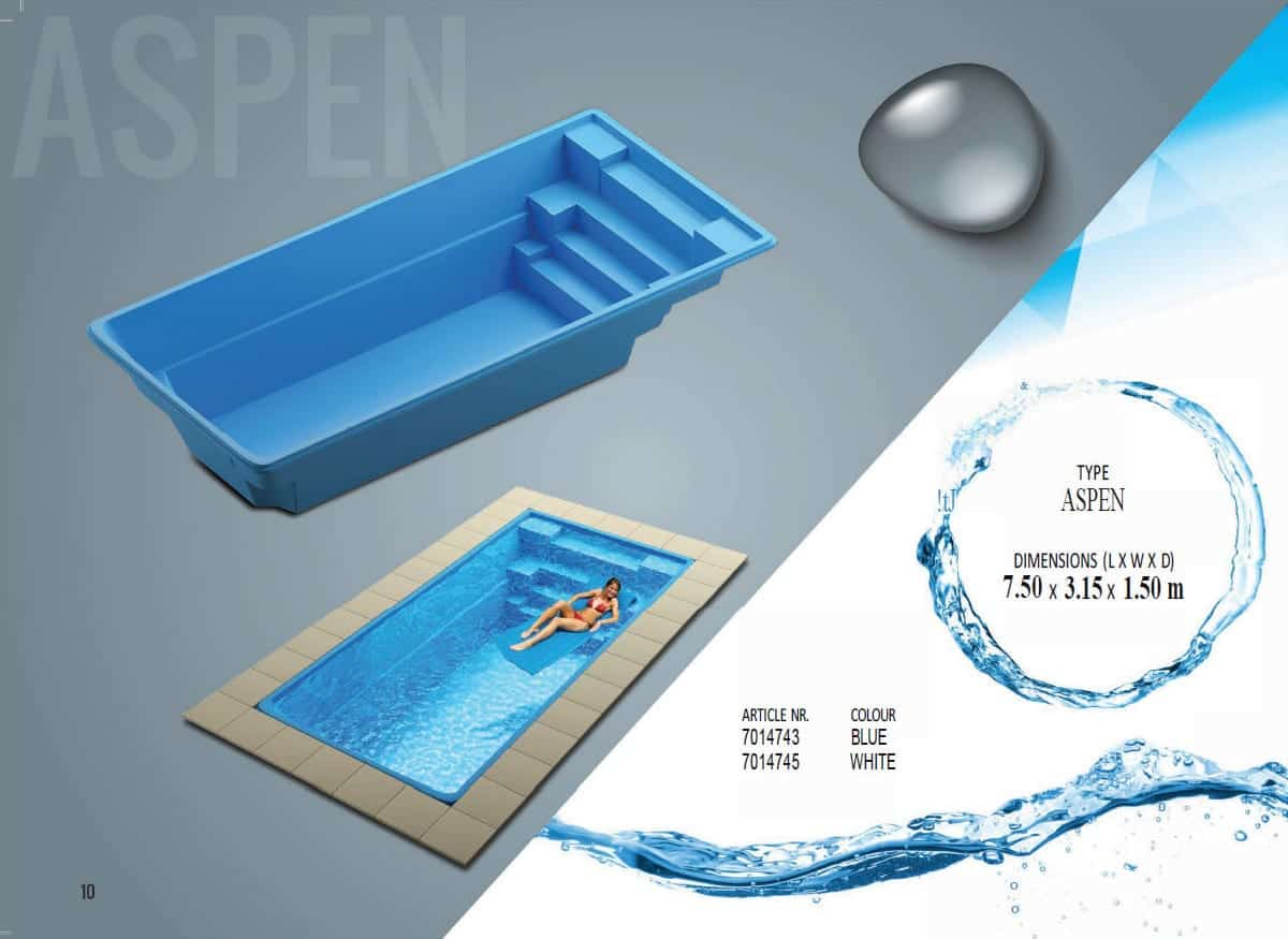 ASPEN 7.5 X 3.15 X1.5 M One Piece Fibreglass Swimming Pool