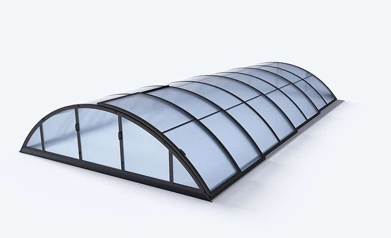 KLASIK B Telescopic Pool Enclosure (Silver / Dark Grey Frame Colour)