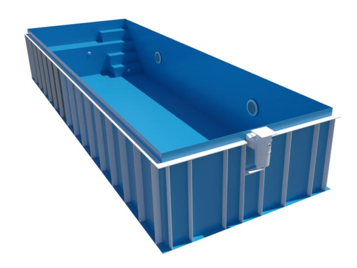Dura Polymer Rectangle Pool With Mini Bench