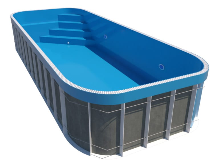 Dura Polymer Overflow Rectangle W Round Corners With Bench & Corner Stairs