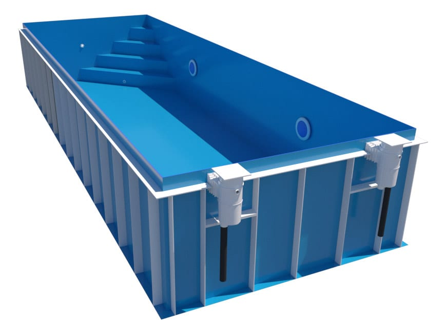 Dura Polymer Rectangle Skimmer Pool Corner Steps