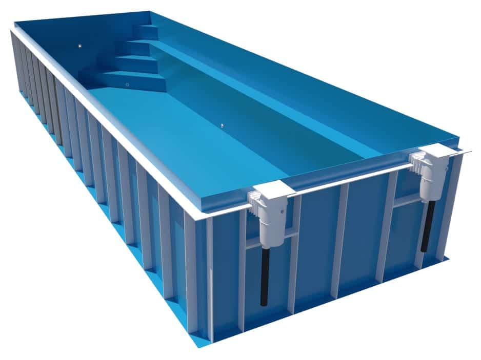 Dura Polymer Rectangle Pool With Side Bench