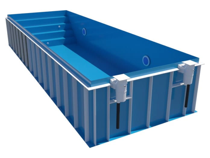 Dura Polymer Rectangle Skimmer Pool With Stairs Full-Width