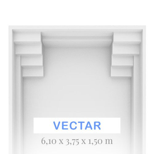 vectar 6.1 x 3.75 x 1.5m fibreglass swimming pool