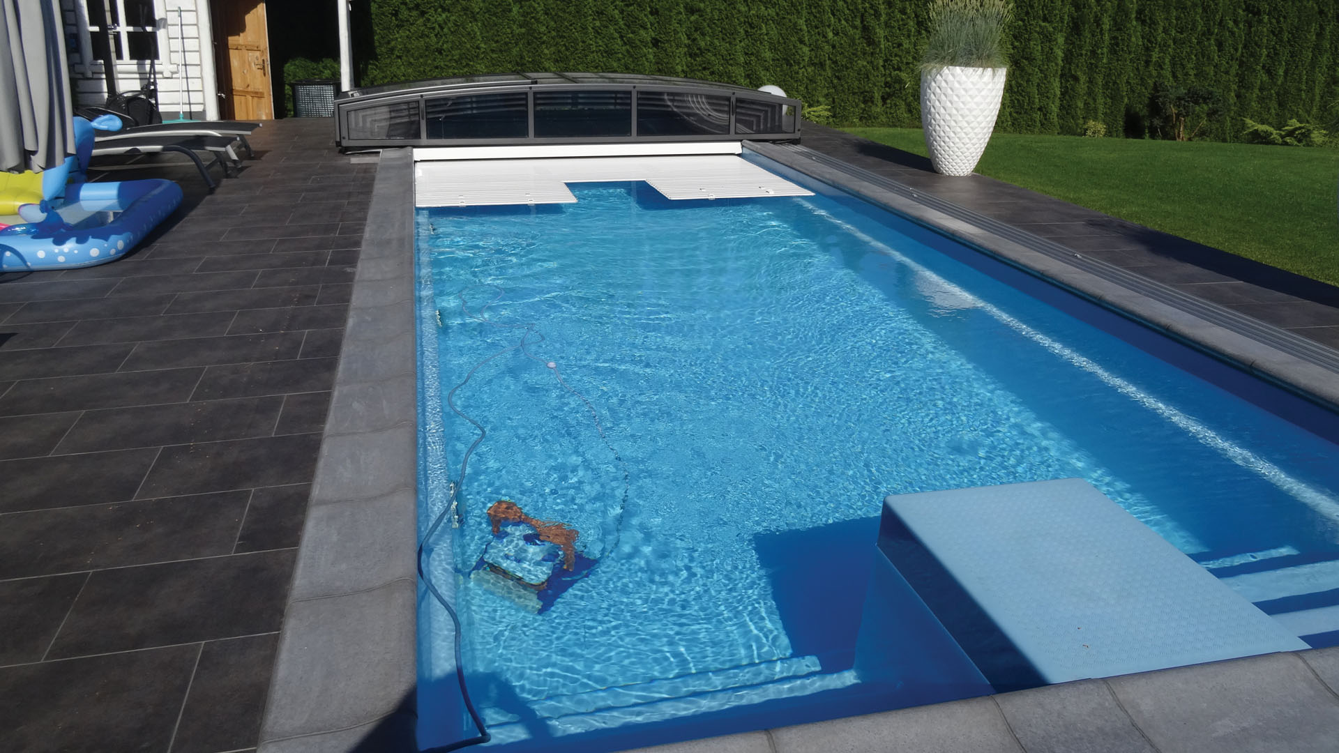saturn long polyester reinforced fibreglass patio pool with safety cover