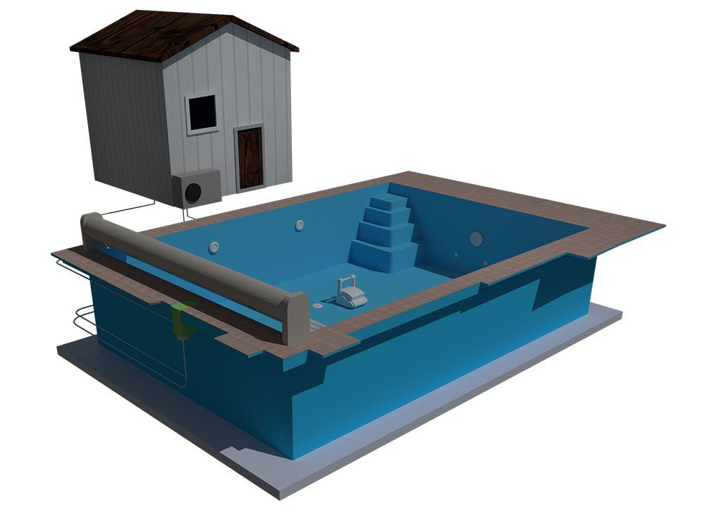 polyester pool kit 3D diagram