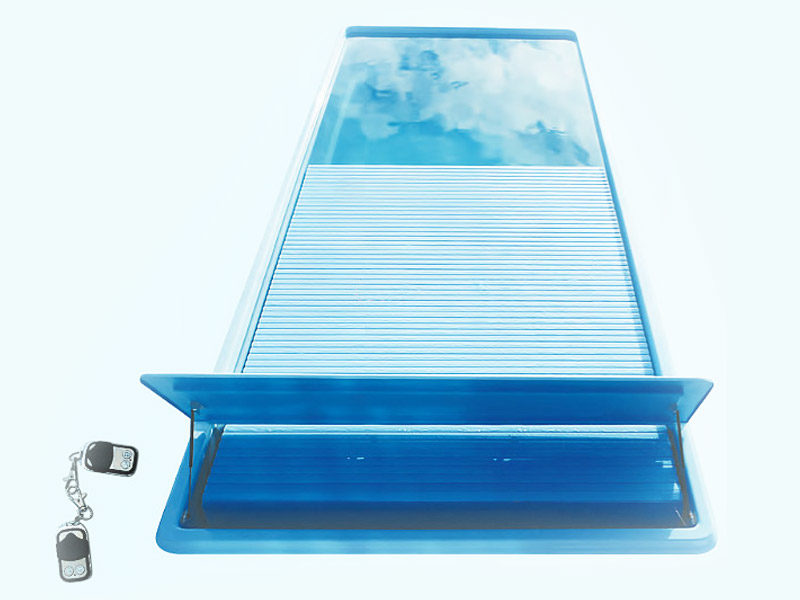 Unique pool model with the container for the most luxurious slatted cover