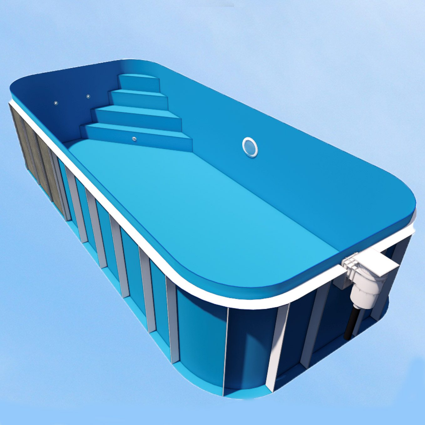 Dura Polymer Rectangle Swimming Pool 6m X 3m X 1.5m